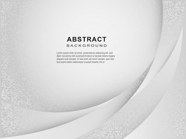 Astratto geometrico bianco e grigio linea curva gradiente di sfondo. Vettore Premium