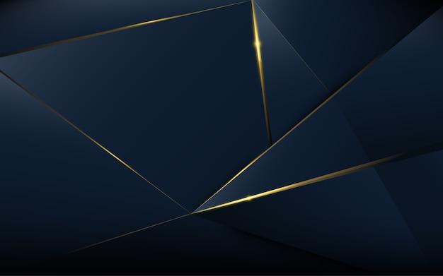 Astratto modello poligonale lusso blu scuro con oro Vettore Premium