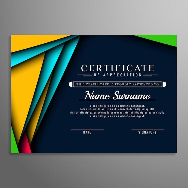 Astratto moderno certificato di sfondo Vettore gratuito
