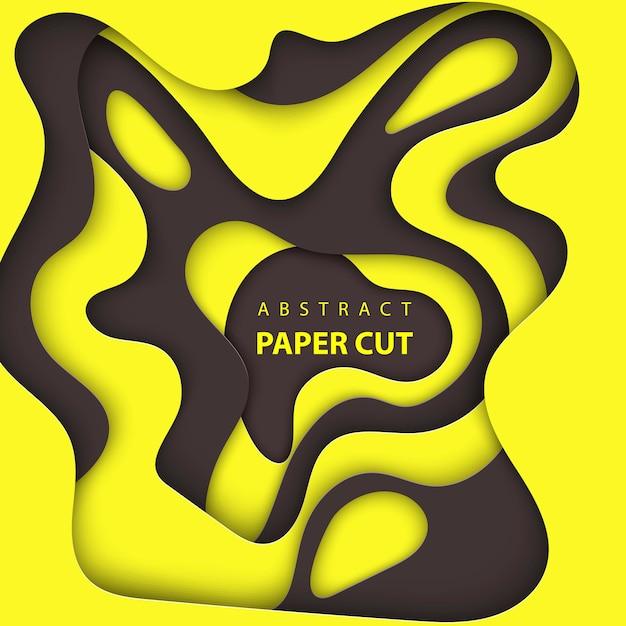 Astratto nero e giallo carta tagliata sullo sfondo Vettore Premium