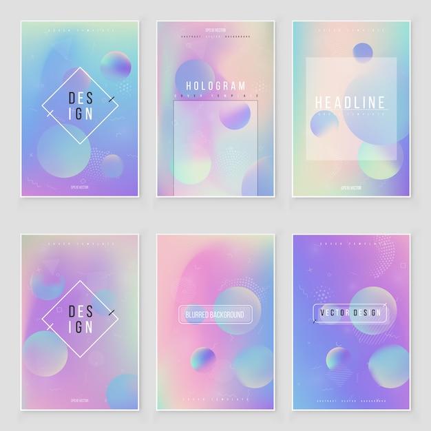 Astratto sfocato sfondo sfumato olografico set design moderno. copertura iridescente per un progetto creativo Vettore Premium