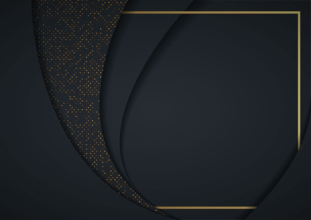 Astratto sfondo 3d con strati di carta nera Vettore Premium
