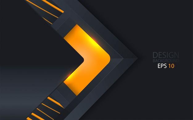 Astratto sfondo 3d con strati di carta nera. Vettore Premium
