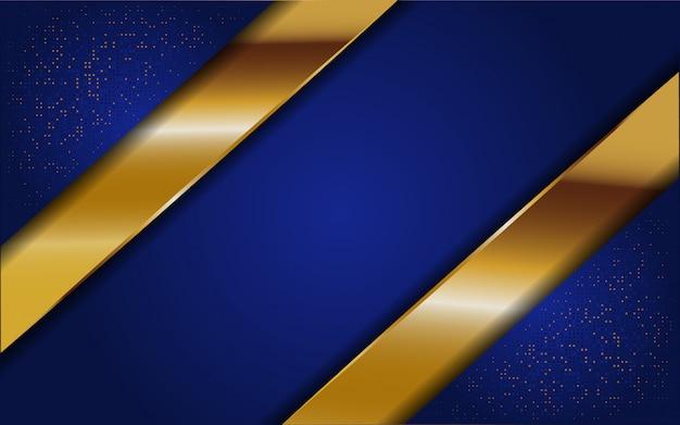Astratto sfondo blu con glitter e linea oro Vettore Premium