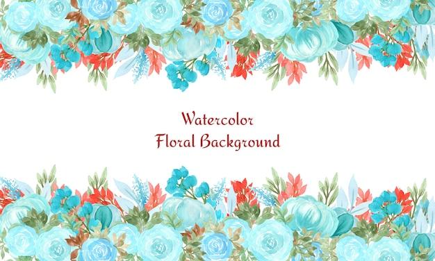 Astratto sfondo floreale con fiori ad acquerelli Vettore Premium