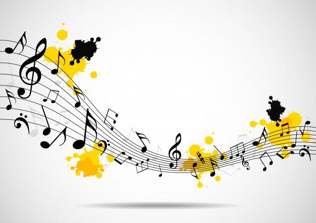Astratto sfondo musicale con note Vettore Premium