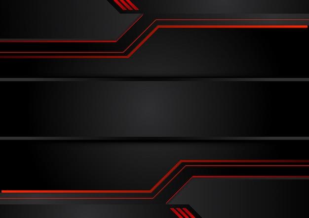 Astratto sfondo nero rosso metallico Vettore Premium