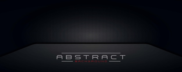 Astratto sfondo scuro, carta da parati, tecnologia di design moderno banner nero Vettore Premium