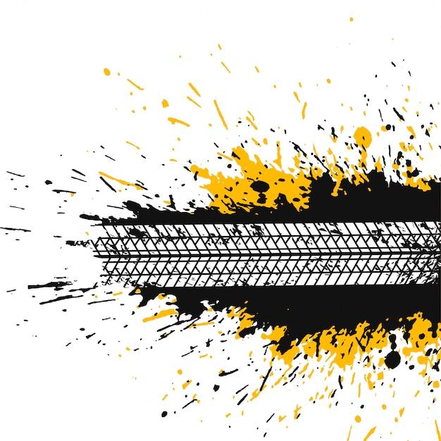 Astratto sfondo splatter con traccia di pneumatico Vettore gratuito