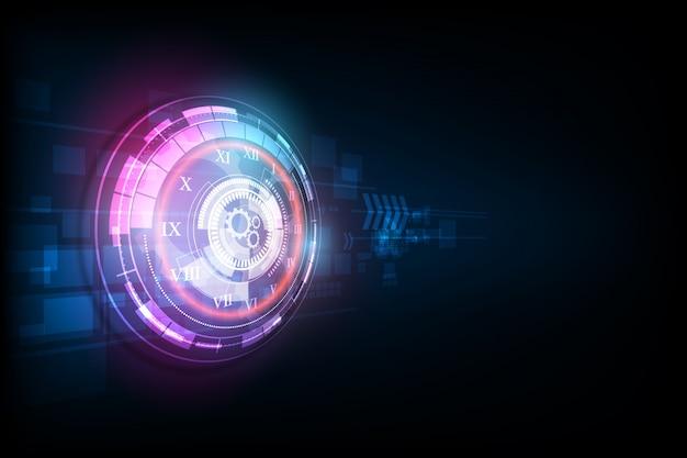 Astratto sfondo tecnologia futuristica con orologio e macchina del tempo Vettore Premium