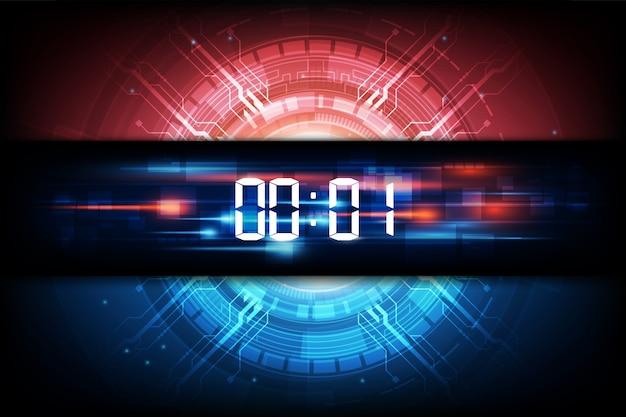 Astratto sfondo tecnologia futuristica con timer numerico digitale e conto alla rovescia Vettore Premium
