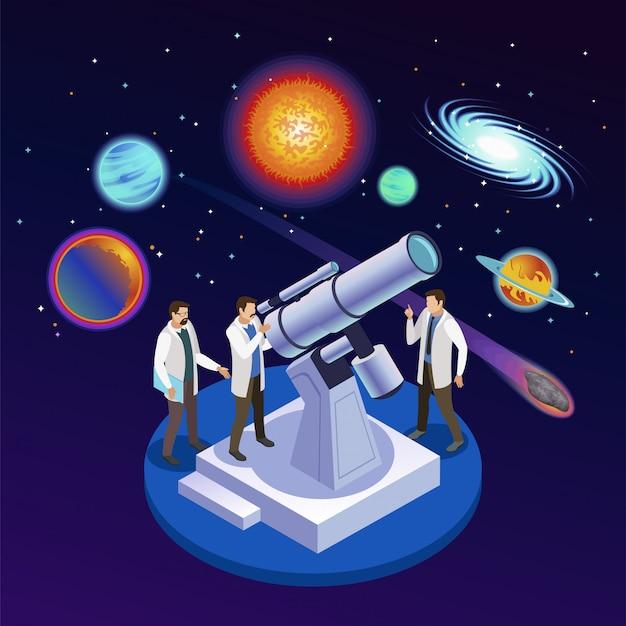 Astrofisica rotonda composizione isometrica con astronomi osservando pianeti meteoriti galassie con telescopio ottico sfondo stellato illustrazione Vettore gratuito