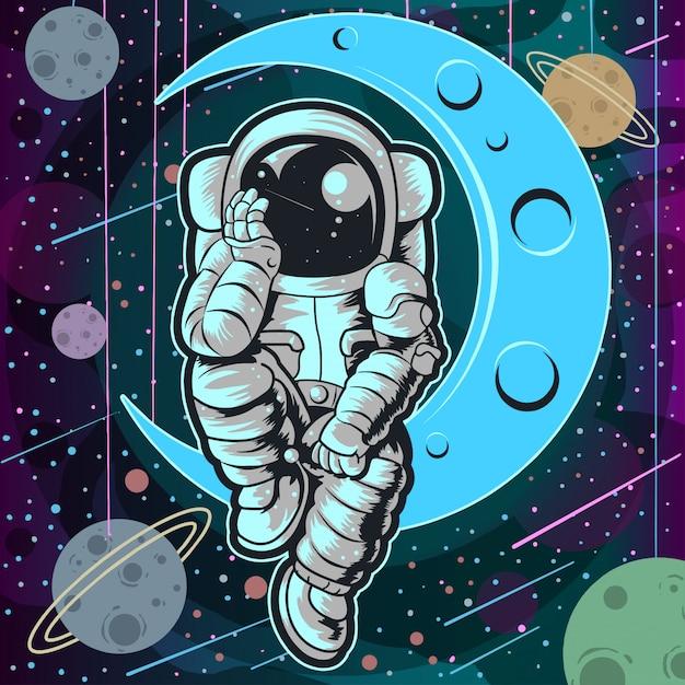 Astronaut full colour Vettore Premium