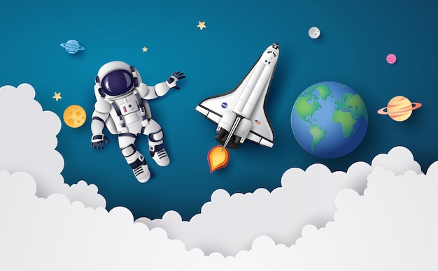 Astronauta astronauta che galleggia nella stratosfera Vettore Premium