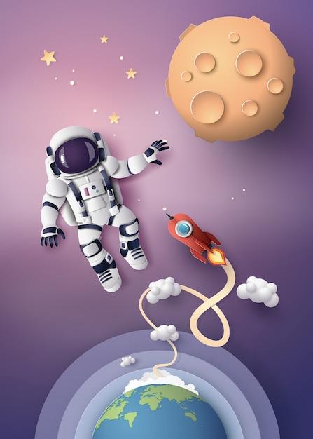 Astronauta astronauta che galleggia nella stratosfera. Vettore Premium