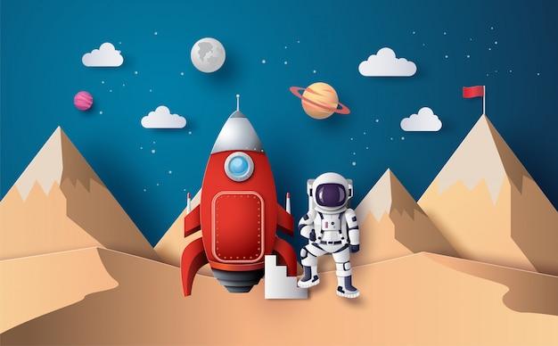 Astronauta con bandiera sulla luna, arte di carta e stile artigianale digitale. Vettore Premium