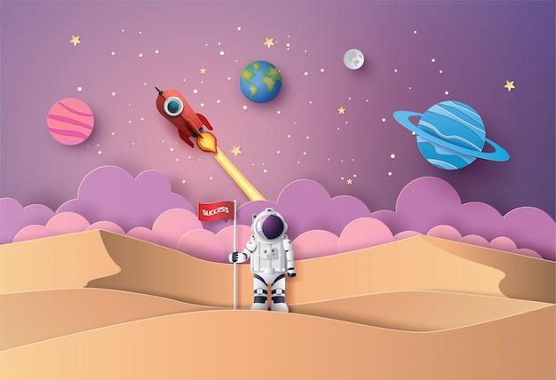 Astronauta con bandiera sulla luna, Vettore Premium