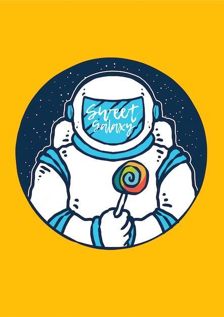 Astronauta con caramelle con galassia e universo Vettore Premium