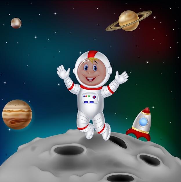 Astronauta dei cartoni animati nello spazio esterno scaricare