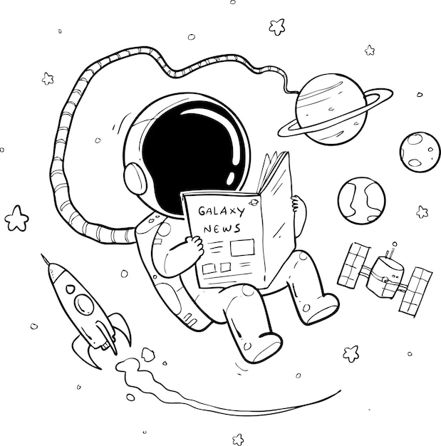 Astronauta disegnata a mano Vettore Premium