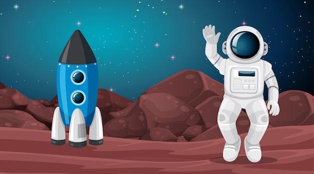Astronauta e scena di paesaggio marziano Vettore gratuito