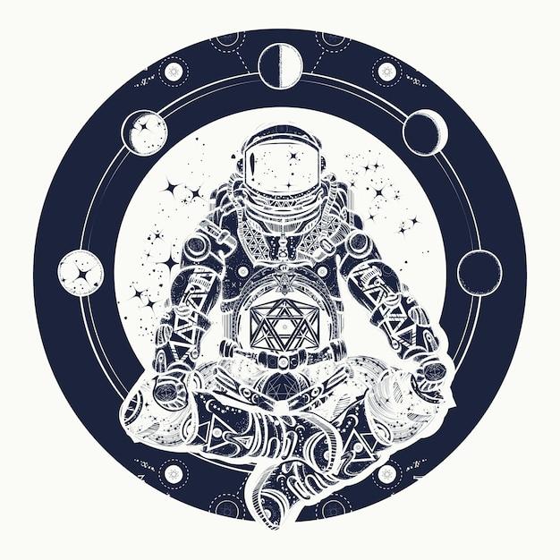 Astronauta e universo Vettore Premium