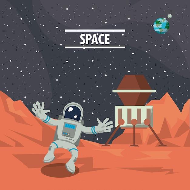 Astronauta in marte con cartone animato astronave scaricare