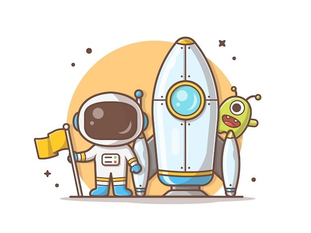 Astronauta in piedi standing holding flag con rocket e cute alien illustration Vettore Premium