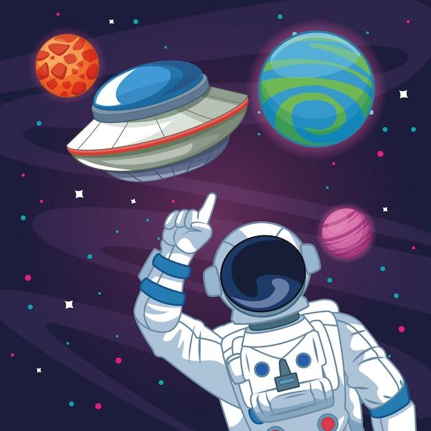 Astronauta nel cartone della galassia Vettore Premium