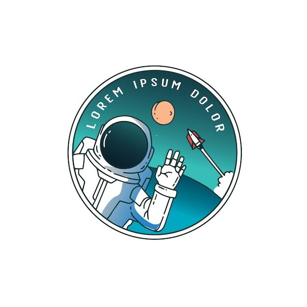 Astronauta nel cielo con un razzo dietro Vettore Premium