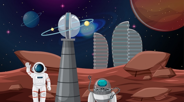 Astronauta nella città spaziale Vettore gratuito