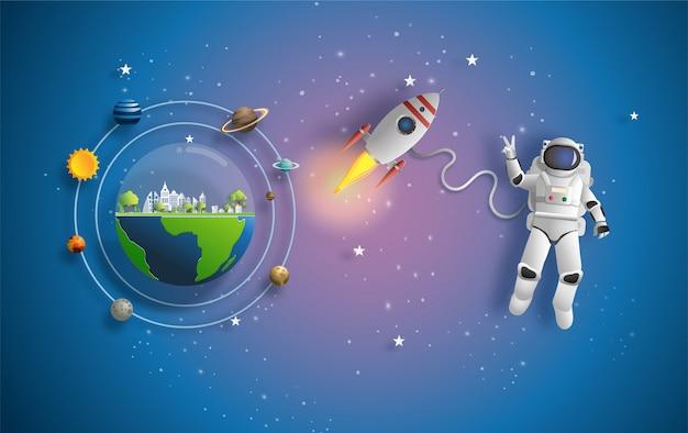 Astronauta nello spazio esterno in missione. Vettore Premium
