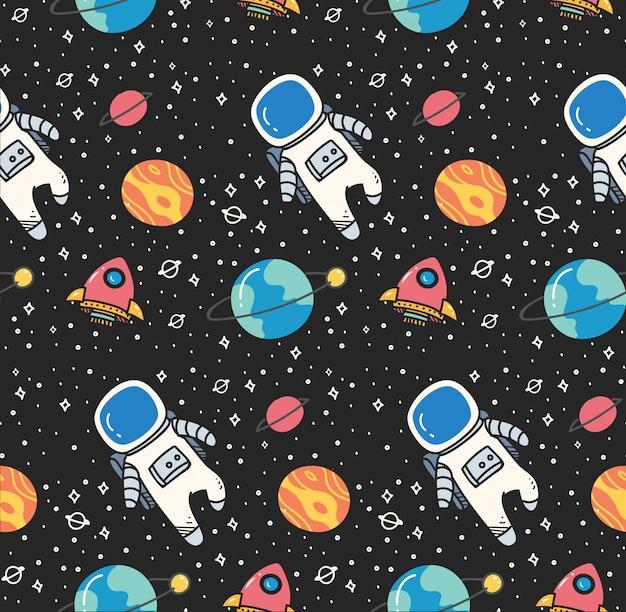 Astronauta nello spazio sfondo senza soluzione di continuità in stile kawaii Vettore Premium