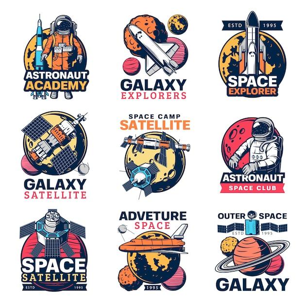 Astronauta spaziale, astronave e icone del pianeta Vettore Premium