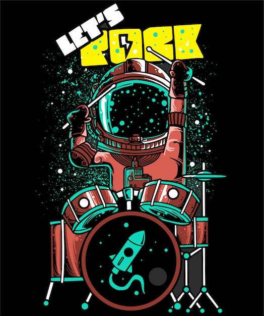 Astronauti di cartone animato vettoriale giocando batterista Vettore Premium