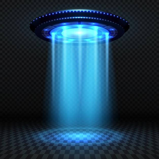Astronave futuristica di alieni, ufo con luci blu. concetto di vettore di invasione. invasione ufo, astronave e illustrazione di raggio blu Vettore Premium