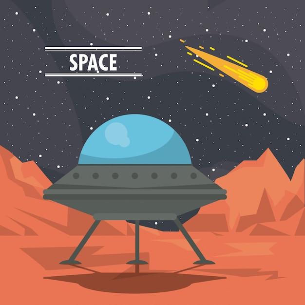 Astronave ufo su marte dei cartoni animati scaricare vettori premium