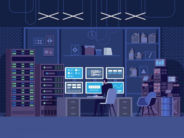 Attacco di hacker di internet e concetto di sicurezza dei dati personali. Vettore Premium