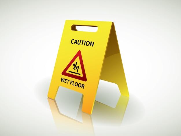 Attenzione segno del pavimento bagnato scaricare vettori premium