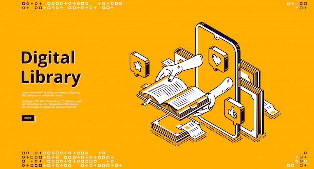 Atterraggio isometrico della biblioteca online, servizio internet Vettore gratuito