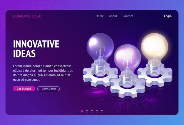 Atterraggio isometrico di sviluppo di idee innovative Vettore gratuito