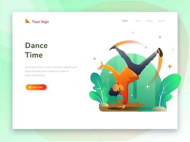 Attività sportive di danza per siti web Vettore Premium