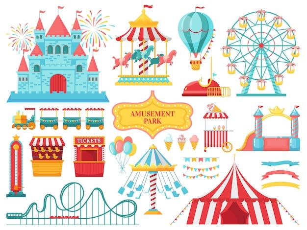 Attrazioni del parco divertimenti. il carnevale scherza il carosello, l'attrazione della ruota panoramica e l'illustrazione divertente di spettacoli della zona fieristica Vettore Premium