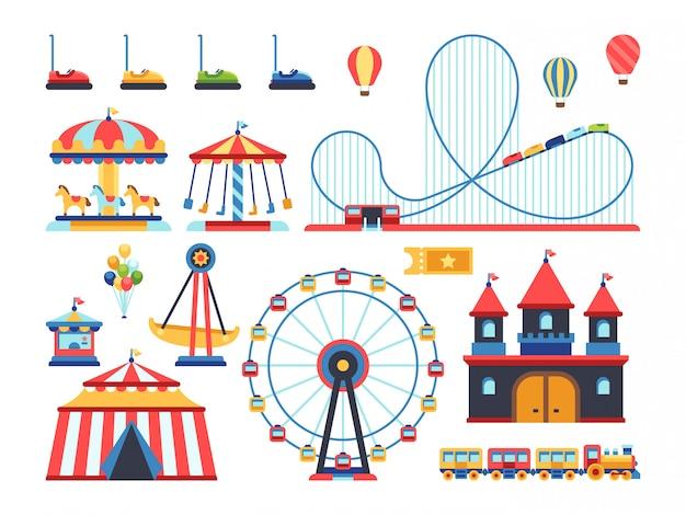Attrazioni del parco divertimenti. treno, ruota panoramica, giostra e montagne russe elementi piani Vettore Premium