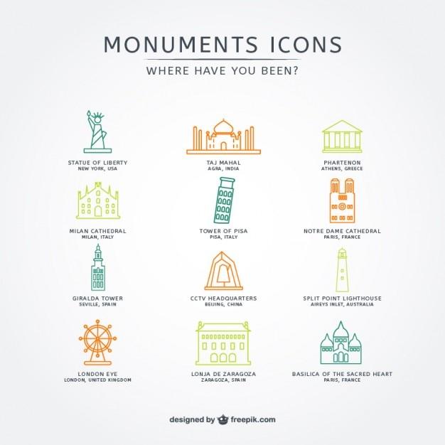 Attrazioni turistiche icons collection Vettore gratuito
