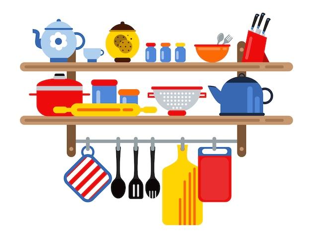 Attrezzatura da cucina e ristorante sugli scaffali della cucina Vettore Premium