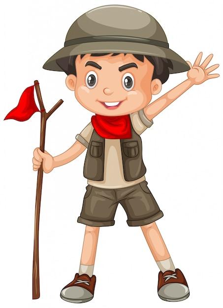 Attrezzatura da portare di safari del ragazzo isolata Vettore gratuito