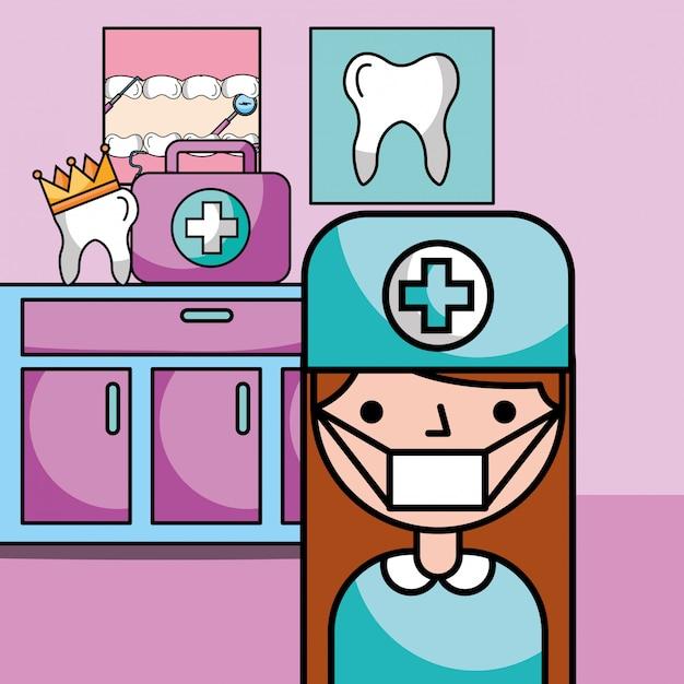 Attrezzatura della ragazza del dentista nella stanza di consultazione Vettore Premium