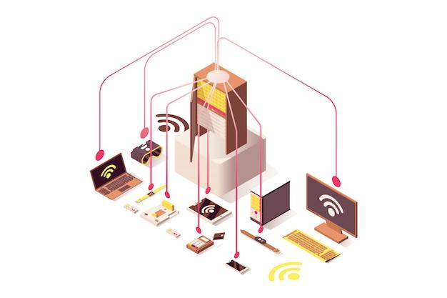 Attrezzatura hardware del computer, internet delle cose, sistema cloud, dispositivi portatili Vettore Premium
