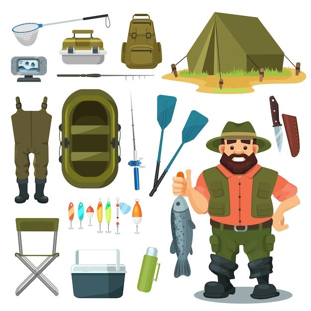 Attrezzatura per la pesca per l'insieme dell'illustrazione del pescatore, carattere con il pesce della cattura, attrezzo da campo all'aperto, icone di campeggio isolate su bianco Vettore Premium
